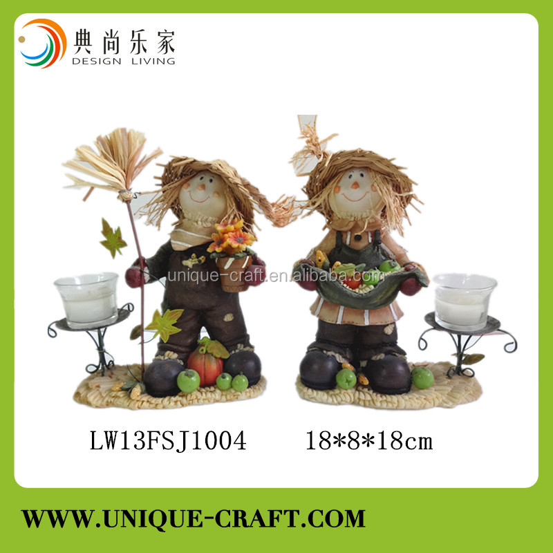2017 resin crafts figurine scarecrow decoration