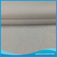 100%Polyester knitted single jersey fabric jacquard for bedding set/white jacquard ribbon