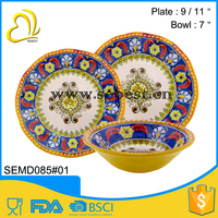 cheap two tone round melamine plate and bowl hard plastic dinnerware