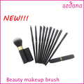 New design rubber handle cosmetic brushes,all black makeup brush set,with special shape handle
