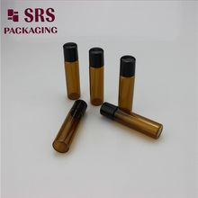 Classic style 5ml amber glass roll on bottle with black plastic high quality perfume containers
