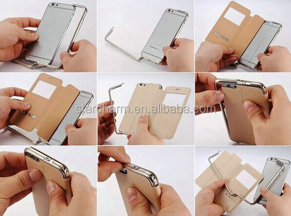 2 in 1 Hybrid Aluminum Metal Frame Leather Back Case Cover for iphone5s