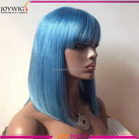 Fashion Style 150 Density Lace Front Wigs blue Silky Straight Human Hair Bob Wigs