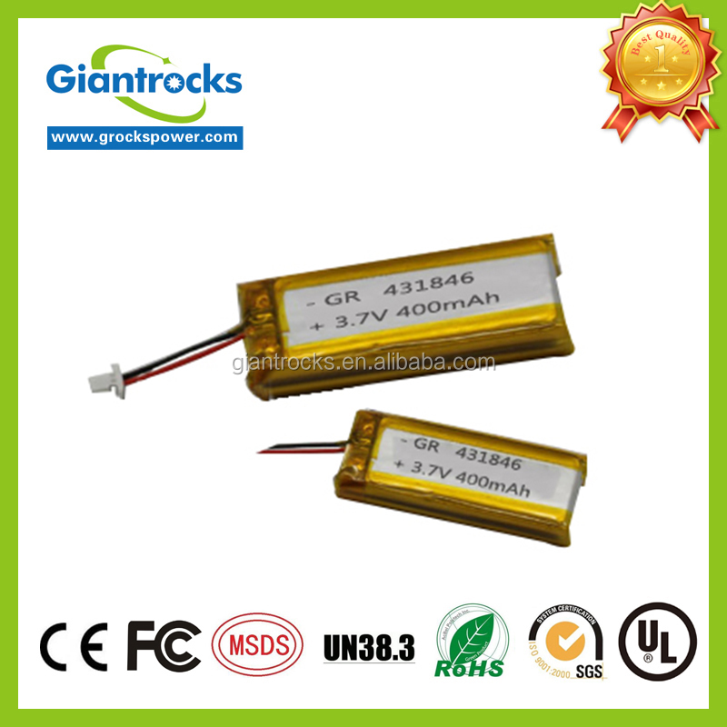 Lithium polymer <strong>Battery</strong> 3.7V 431846 400mah rechargeable lithium <strong>battery</strong>
