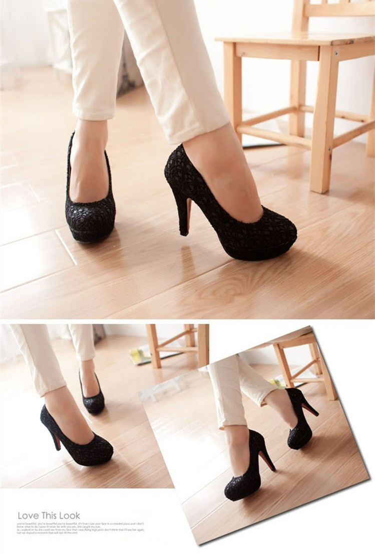 Fashion Women High Heels Lace Surface Platform Sole Low Cut Vamp Pumps Shoes Beige