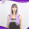 amazing silky straight very long purple ombre hair wigs for party and halloween