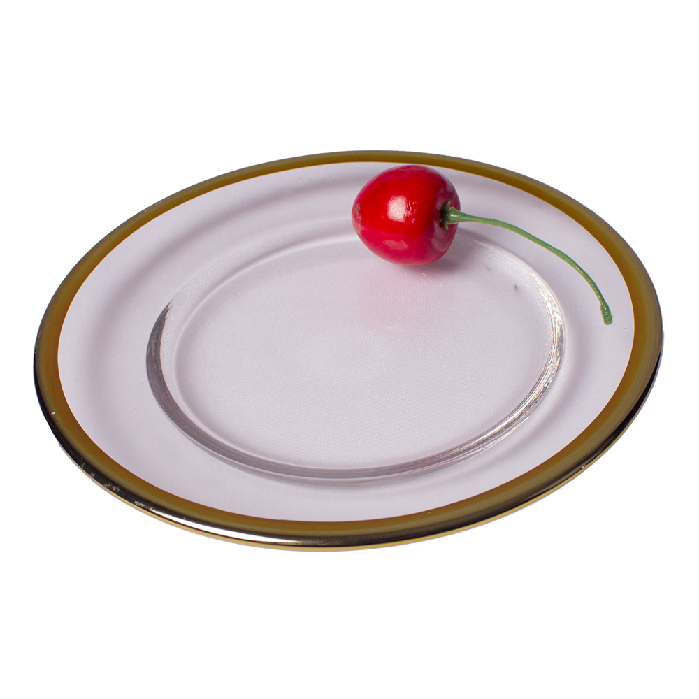 Cheap Golden Charger Plates Gold Rim Glass Dish