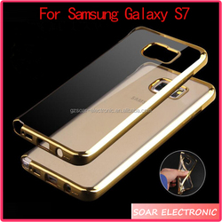 Electroplate TPU gold mobile phone cover for Samsung Galaxy S7 printed tpu cover case for Samsung galaxy S7