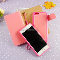 Wallet pu universal leather cell mobile phone case for iphone 4 5 6 plus hand bag phone cover wholesale