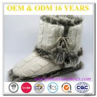 Best selling winter womens cable knitted boots with faux fur plush lining