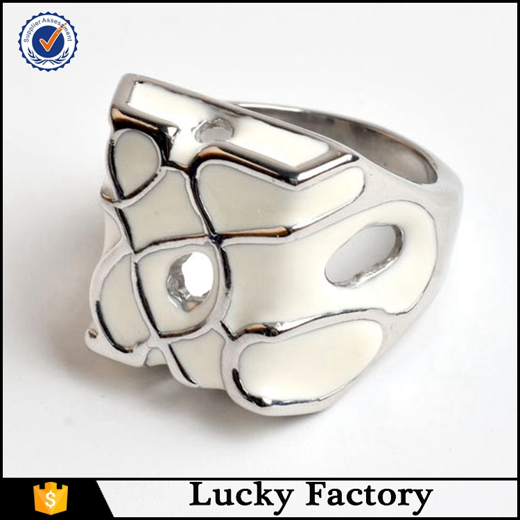 Mens Fashion Ring Stainless Steel 316L Celtic Square shape White Enamel Solid Rings