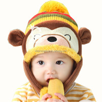 Cheap cute plush monkey kids animal winter crochet baby hat custom warm soft baby girl hat