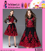 2016 high quality Dubai hot sale short evening dress handmade knee length girls lace embroidery dress