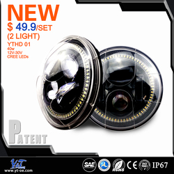 Y&T 7'inch led headlight, round hi/lo beam 7 inch motorcycle led headlights off road headlight