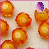 wholesale gold yellow 8mm acrylic beads faceted round ball beads