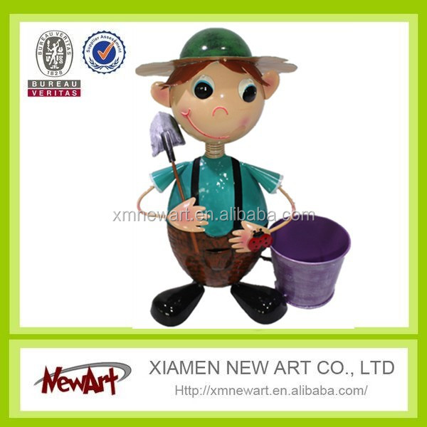 Metal garden decoration craft flower pot with cute boys doll planter metal pot with boys