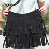Free Shipping Cathylin New Arrival Women's Suede Fringe Handbags Fashion Tassel Shoulder Bags for Ladies