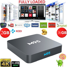 Excellent Quality Smart TV Box M95 2G/16G Android 5.1 Amlogic S905 Quad Core 4K Kodi Slim Box TV Internet