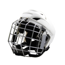 Superior Quality White PP Outshell Ice Hockey Player Helmet With Full Face Mask
