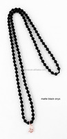 Newest 6mm matte black beads necklace, long necklace