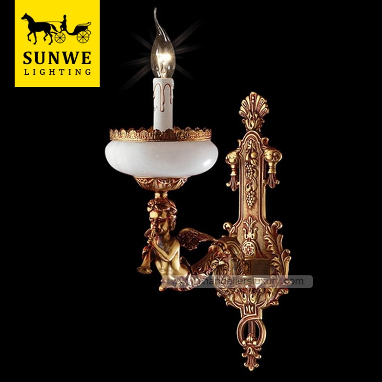 Factory-Outlet Baroque Bronze With Red Touch 1 Lights White Bronze Spanish Alabaster Hotels wall bracket light fitting