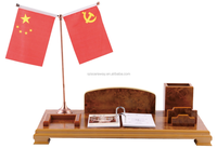 Promotional wooden desktop calendar stand with flag for wholesale
