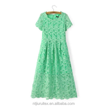 women lace dress, Slim fashion dress ,Summer Elegant Ladies Casual Hollow Out summer dress,midi dress