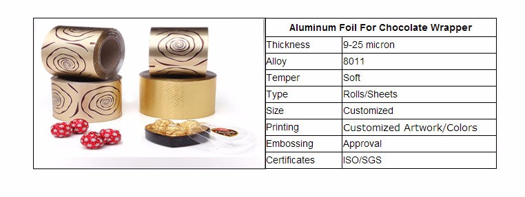 Golden Colored aluminium foil chocolate candy wrapping paper sheet or Roll
