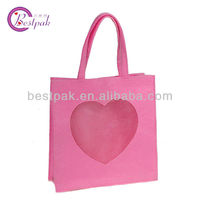 fashion pink felt tote shopping bag
