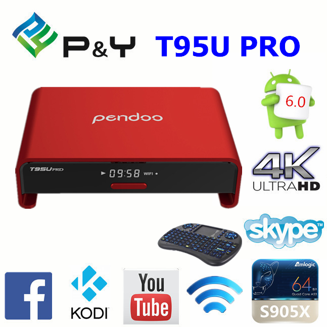 2017 hot sale high quality New product Pendoo T95U pro S912 2G 16G 4k 3d media player wholesale online KDplayer tvBox