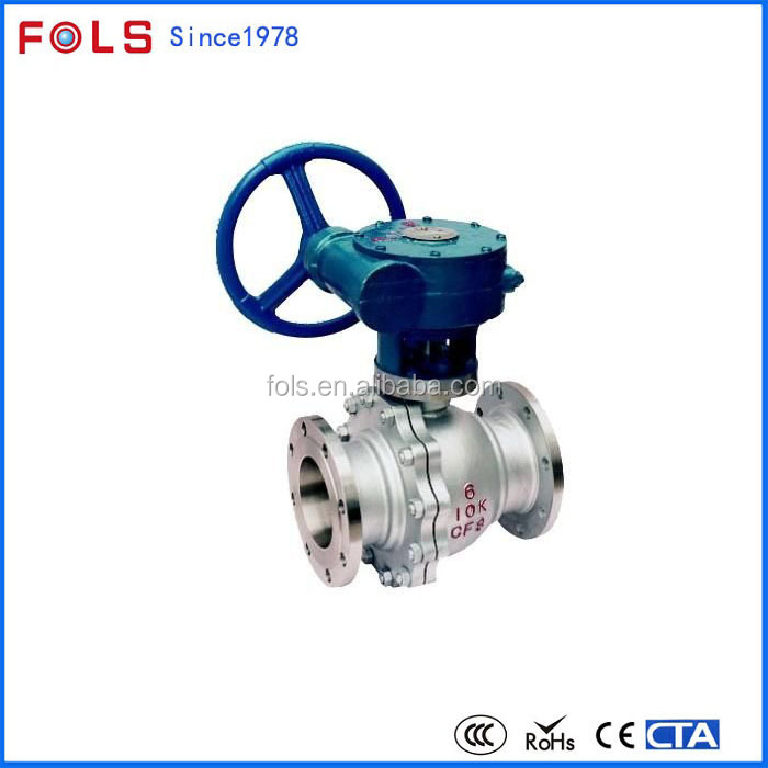 Worm gear operate forged steel trunnion mounted ball valve