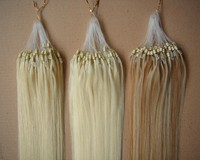 cheap double beads ombre micro ring hair extensions prices low with good quality 100% natural human hair extension