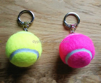 promotional 40mm real Tennis ball keychain