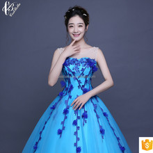 Slim Fit Off-Shoulder Blue Spaghetti Strap Royal Ball Gown Wedding Dress