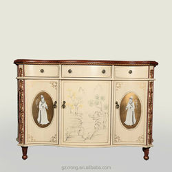 Chinese style hand carved painted wooden cabinet/chest/ sideboard 3 doors & 3 drawers classical wooden cabinet