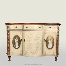 Chiness style hand carved painted wooden cabinet/chest/ sidebooard 3 doors & 3 drawers classical wooden cabinet
