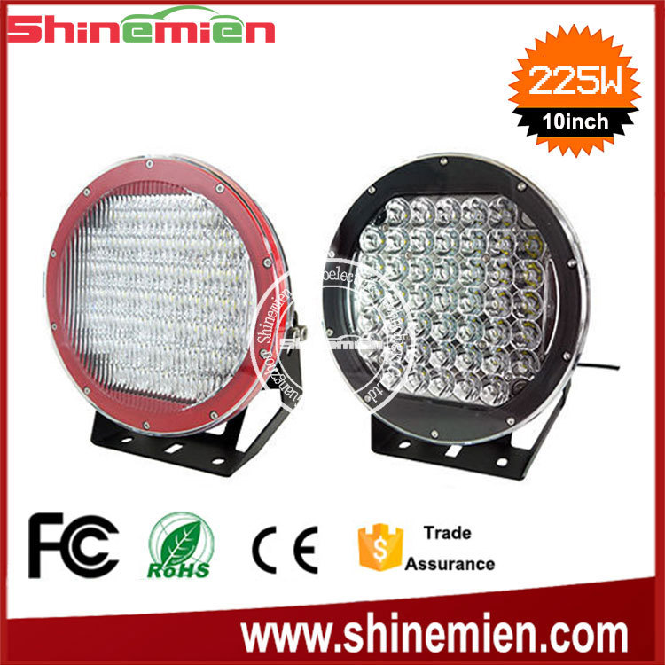 10inch 225w NEW led driving light IP68 super bright led work light,Round led driving light 4WD Offroad Camping Replace HID