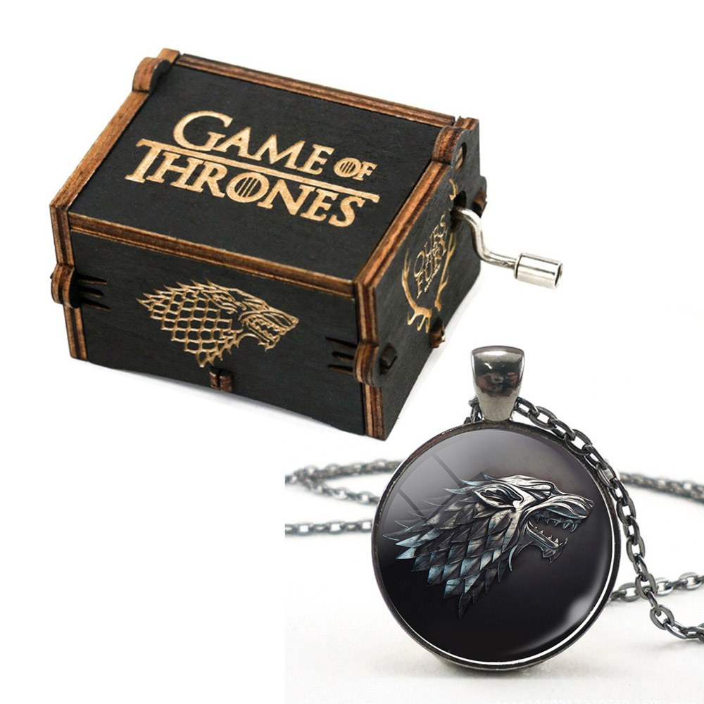 Decorativos para casa presentes da lembrança de Game of thrones manivela music box com cabeça de Lobo colar crachá