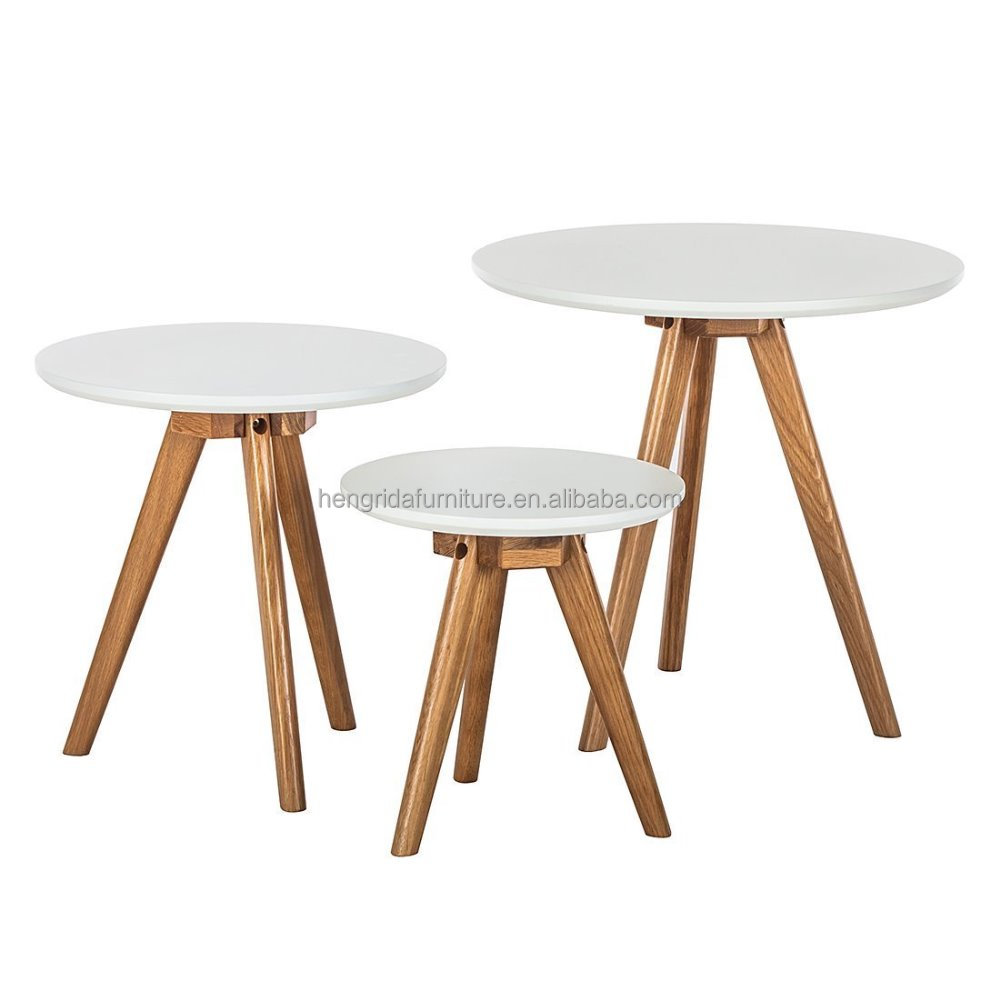 Solid Oak Wood Legs Coffee Table 3 Sets With White Mdf Top Buy Coffee Table Sets Product On