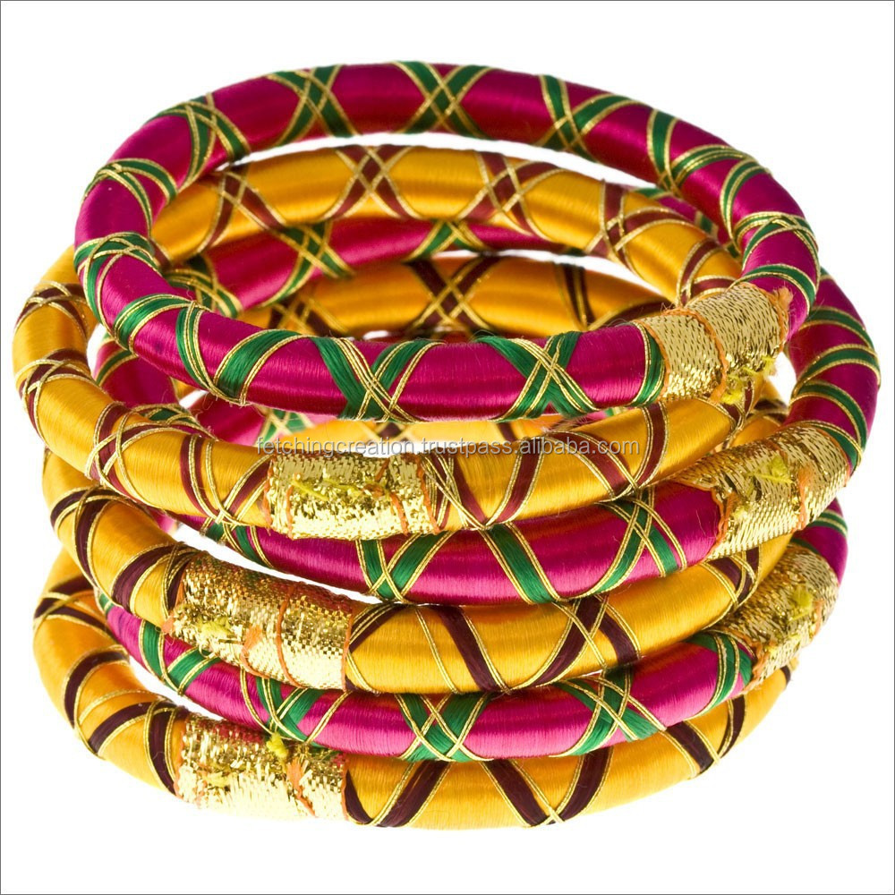 Special Collection neon color silk thread bangle with golden thread silk
