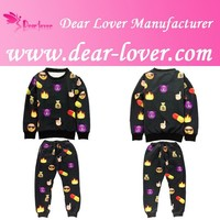 Wholesale Women 3D Black Cartoon Print emoji shirt Set