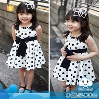 Hot sale kids clothes girls boutique clothing factory price big dot bow-knot decoration designs flower girl baby dress pictures