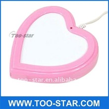 2011 NEW hot Pink heart shape USB cup warmer with 4 Hubs