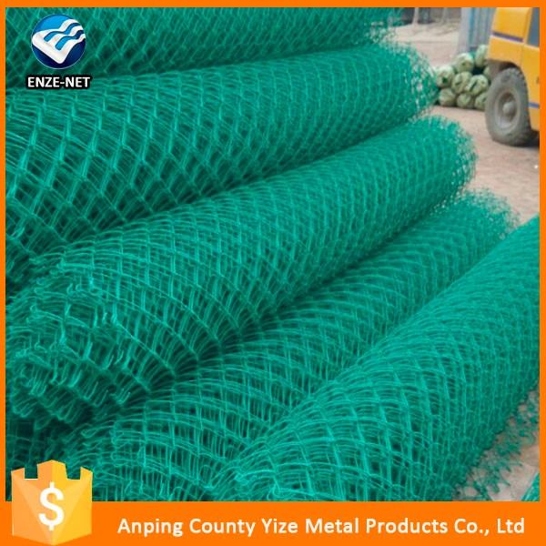 anping yize high quality green color plastic chain link fence with ISO certificated ( manufacturer )