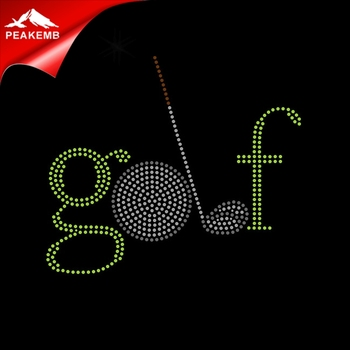 golf Motif hotfix rhinestone transfer iron on