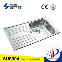 Stainless steel single bowl kitchen sink with drain board