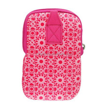 Lovely pink or Customized sublimation SBR Mobile Phone Pouch with strap