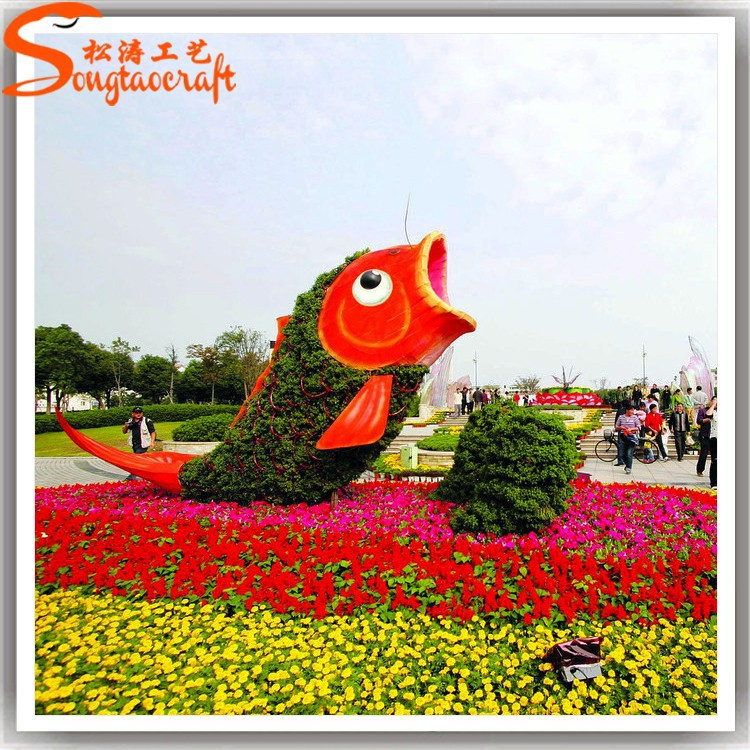 Cheap customized green artificial animal topiary wire frame for landscaping