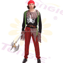 Tongle factory directly sale sexy men pirate cosplay halloween costume with hat and belt