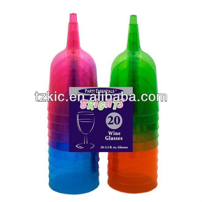 Disposable Colorful Plastic Wine or Water Glass Goblets 6oz